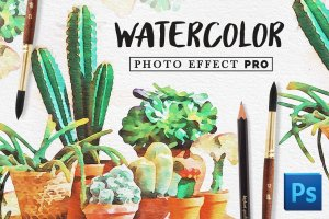 水彩插画效果PS图层样式 Watercolor Photo Effect Pro插图1