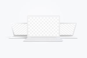 MacBook笔记本电脑多屏幕预览前视图样机03 Clay MacBook Mockup, Front View 03插图1