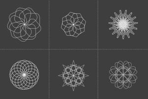 18个曼陀罗风格矢量几何图形素材 Spirographs插图2