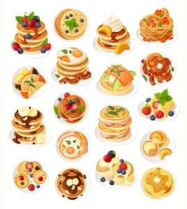 美味的薄煎饼美食矢量设计素材 Delicious Pancakes插图2