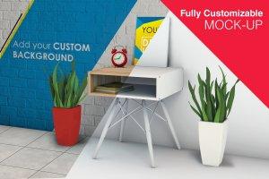 简约固定式办公桌和海报模型Mockups插图1