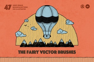 47款手绘画笔&图案AI笔刷合集 The Fairy Vector Brushes插图1