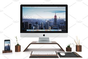 iMac & iPhone 二合一设计展示样机 iMac and iPhone mockup (white)插图2