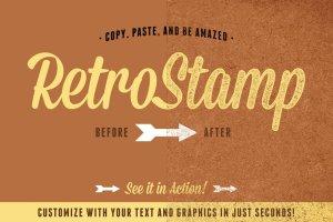 油墨印刷效果文本图形样式 RetroStamp Pressed Ink Effects Vol 1插图2