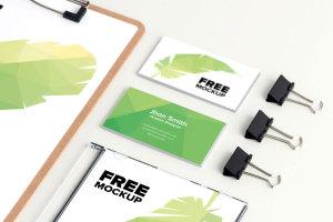 品牌视觉设计实物印刷效果预览等距网格办公用品样机模板02 Stationery PSD Mockup 02插图3