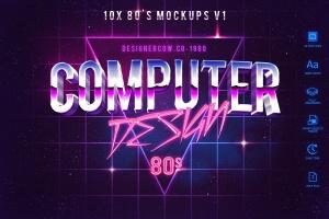80年代复古风格文本特效文字样式v1 80's Style Text Mockups V1插图1