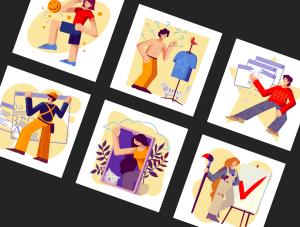 一流设计素材网下午茶:充满活力的矢量插画素材下载[PSD]插图(8)