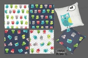 猫头鹰家族水彩手绘图案设计素材 Owls Family插图2