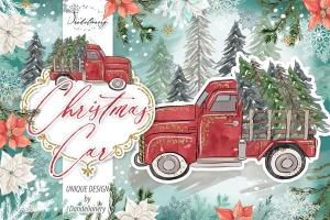 圣诞节节日主题水彩手绘汽车设计剪贴画PNG素材 Christmas Car design插图1
