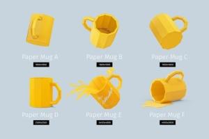 手工制作纸杯艺术品样机 PAPERCRAFT MUGS MOCKUPS插图2