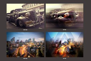 几何科幻照片效果处理PSD模板 Geometric Haze Photoshop Template插图3