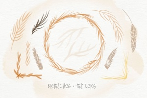 秋天主题水彩手绘图案设计素材包 Autumn Watercolor Kit插图9