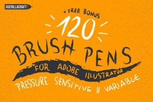 120款手绘画笔AI笔刷大合集 120 Brush Pens for Adobe Illustrator插图1