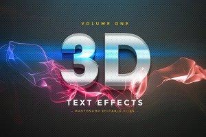 3D文字设计效果图层样式v1 3D Text Effects Vol.1插图1
