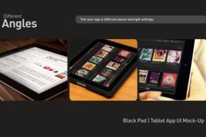 平板APP应用界面设计演示样机模板 Black iPad Tablet App UI Mock-Up插图6