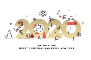 圣诞节&2020年新年主题创意数字矢量插画设计素材v3 Merry Christmas and Happy New Year 2020插图1