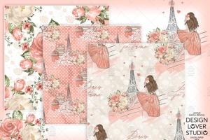 食物元素水彩花卉剪贴画设计套装 Paris je t'aime digital paper pack插图3