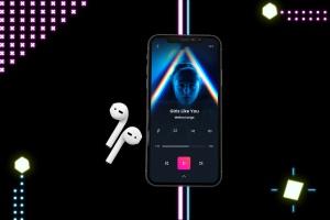 在线音乐APP设计效果图样机模板 Neon Music App MockUp插图5