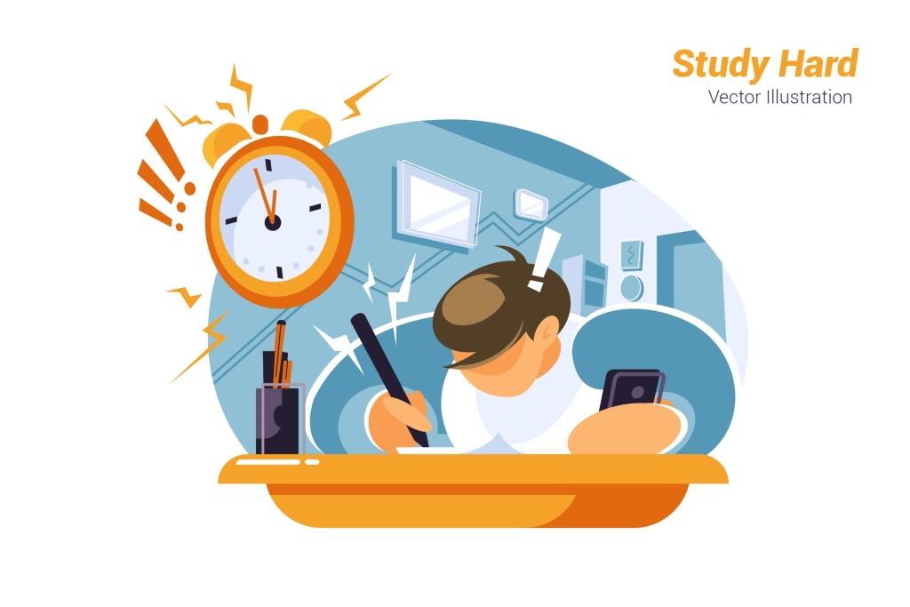 努力学习场景矢量插画设计素材 Study Hard – Vector Illustration插图