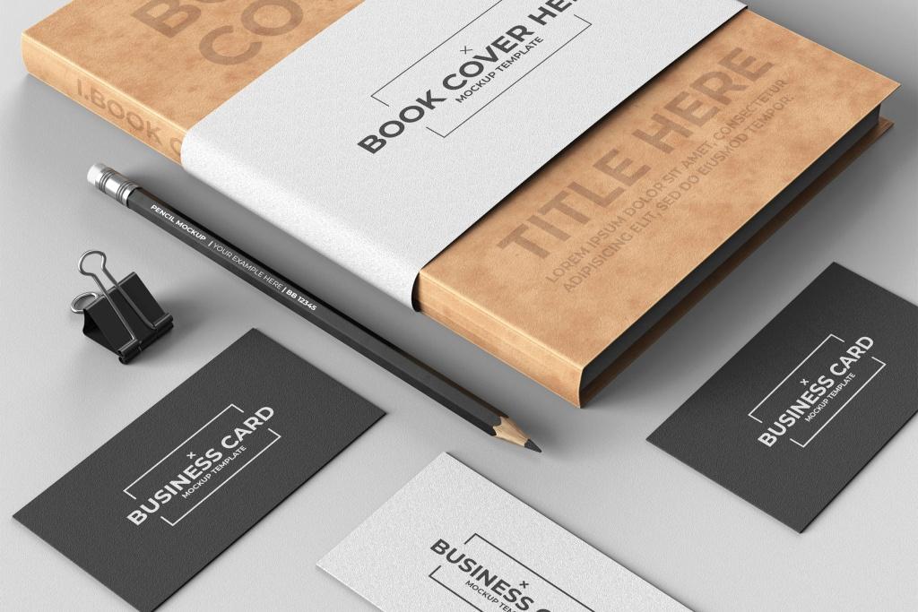 企业品牌设计效果图办公用品样机模板 Corporate Stationery Mock-Up Template插图
