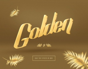 3D金色金属文本文字特效PSD分层模板 3D Gold Text Effects – 10 PSD插图2