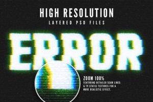 毛刺字体特效设计PSD模板 Photoshop Glitch Text Effects插图5