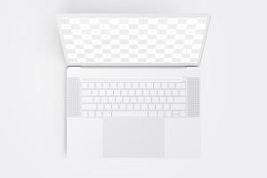 MacBook Pro笔记本电脑屏幕界面设计预览顶视图样机 Clay MacBook Pro 15″ with Touch Bar, Top View Mockup插图1