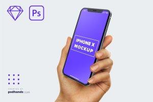 完美的手持iPhone X和三星安卓最新手机展示模型Mockups插图1