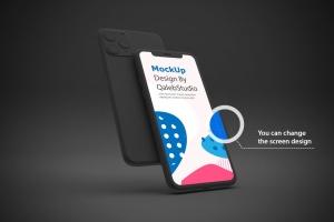 黑色背景iPhone 11智能手机屏幕预览样机 Dark iPhone 11 Mockup插图3