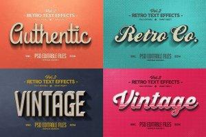 复古文本图层 样机v2 Vintage Text Effects Vol.2插图2