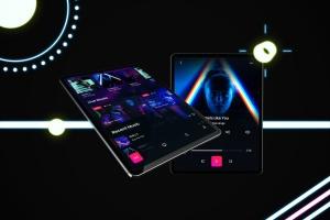 iPad Pro第三方设计屏幕预览样机模板 Neon iPad Pro Mockup插图5