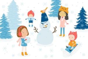 冬天儿童乐园矢量插画设计素材 Winter Fun Vector Graphic Set插图(2)