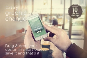手持旧款iPhone手机样机模板 iPhone Mock-ups – No-stock edition插图2