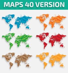 40种设计风格世界地图矢量图形设计素材下载 Map of the world 40 Version插图2
