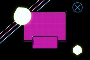 霓虹灯背景iPhone XS & iPad Pro样机模板 Neon iPhone XS & iPad Pro插图11