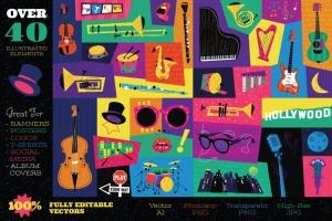 好莱坞经典音乐剧/老式爵士乐矢量插画&海报设计模板 Musical Illustrations and Poster Templates插图(2)