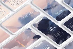 多个iPhone X智能手机屏幕等距平铺视觉样机模板 Clay iPhone X Mockup 02插图1