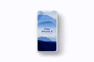 iPhone X智能手机屏幕界面设计多屏预览效果等距网格样机08 Clay iPhone X Mockup 08插图2