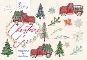 圣诞节节日主题水彩手绘汽车设计剪贴画PNG素材 Christmas Car design插图2