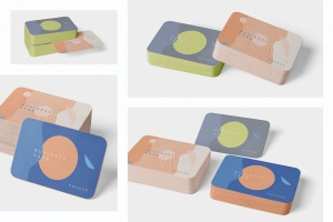 圆角企业名片设计效果图预览样机模板 Business Card Mockup Stack Round Corners插图2