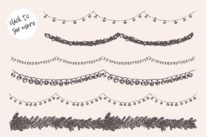 无缝的圣诞装饰花环素材 Endless Christmas garlands插图2