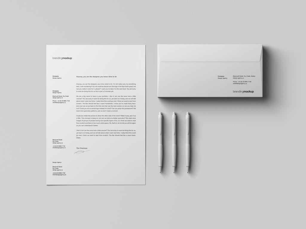信纸信头/信封设计品牌VI样机 Letterhead / Envelope Branding Mockup插图