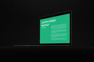 黑色背景MacBook Air笔记本电脑演示样机 Black MacBook Air Mockup插图6