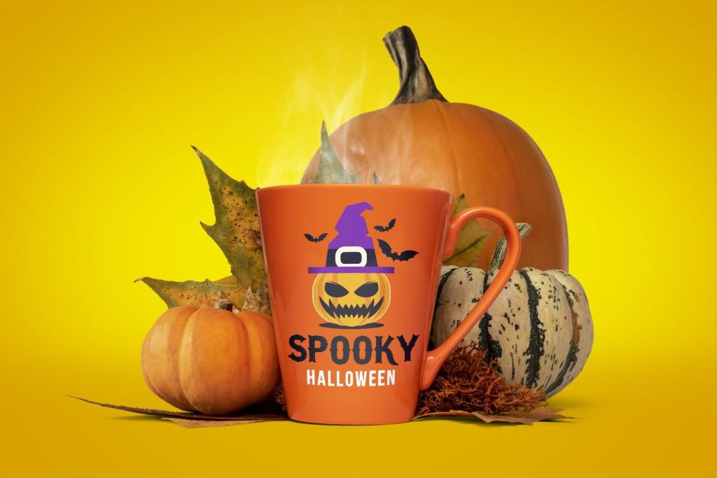 万圣节主题马克杯样机模板 Halloween mug mockup插图