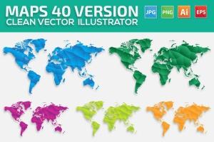 40种设计风格世界地图矢量图形设计素材下载 Map of the world 40 Version插图1