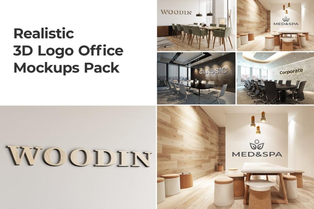高端企业办公室3D企业品牌Logo样机套装Vol.2 3D Logo Office Mockups Pack Vol 2插图