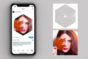 12个破损几何图形背景PSD分层模板 Instagram Textured Geometric Masks插图2