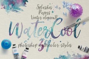 水彩艺术创作样式设计素材 WaterCool Kit. Watercolor Styles插图1