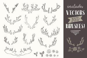 手绘鹿角圣诞元素矢量剪贴画 Hand Drawn Antlers Clip Art – Vector插图2