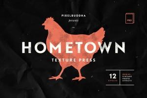 24种复古做旧风格效果PS图层样式 Hometown Texture Press Effects插图1